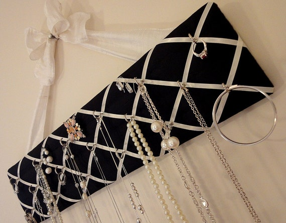 Original French Jewelry Hanger, DeLux - Black 100% Dupioni Silk Fabric with Ivory Bow
