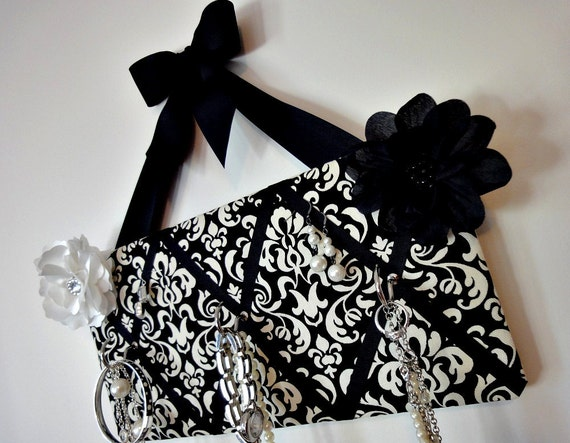 Original French Jewelry or Key Rack Board - Black and Cream Damask - 3 hooks - READY TO SHIP