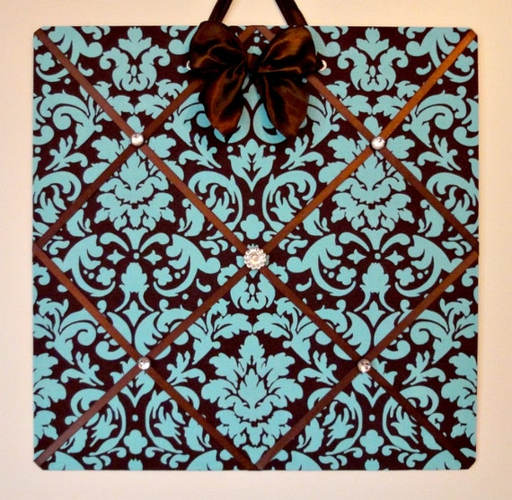 CLEARANCE - French Memo Magnet Board - Turquoise Damask on Brown with Vintage look Magnets - LAST ONE
