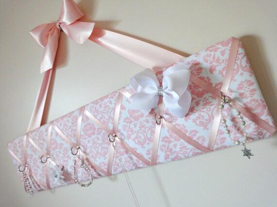 Original Girls French Jewelry Hanger and Bow Holder - Robert Kaufman Petal Damask and Pink Ribbon - Designer Fabric - Pimatex Damask