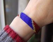 Hand Woven Beaded Bracelet Red Gold and Blue