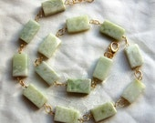 Necklace, Pale Green Serpentine, Gold