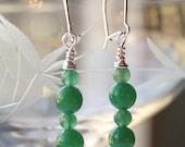 Earrings , dark green, aventurine, silver