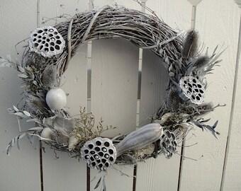 Seashell Wreath  Nautical Wreath Holiday Wreath Christmas Wreath Winter White Wreath