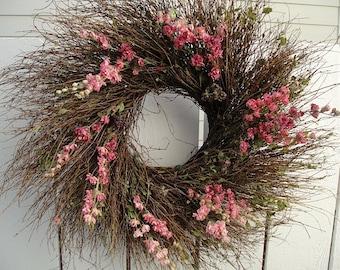 Larkspur Wreath   Wedding Wreath  Easter Wreath  Dried Wreath   Twig Wreath  Natural Wreath  Mothers Day
