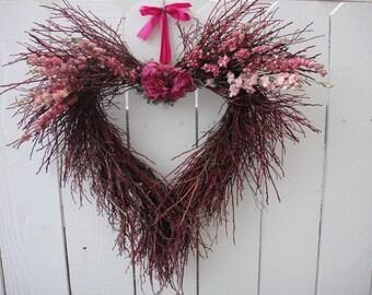 Heart Wreath VALENTINE WREATH   Twig Wreath   Hand Crafted Wreath  Rustic Wedding Wreath   Anniversary Wreath   Mothers Day
