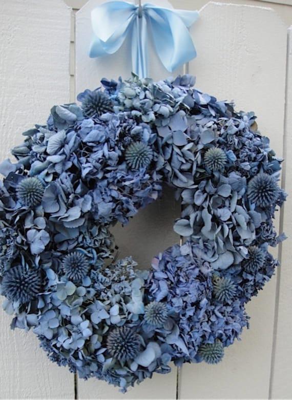 Hydrangea and Globe Thistle Wreath