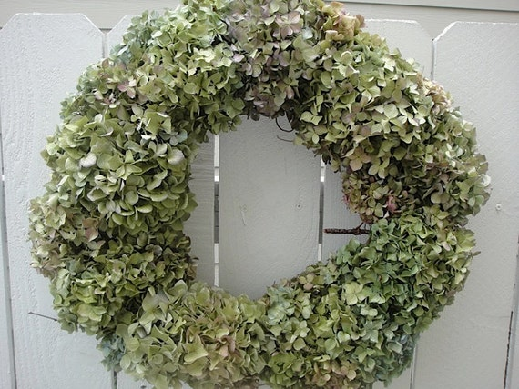 Hydrangea Wreath In Green Tones Makes A Great St Patricks Day