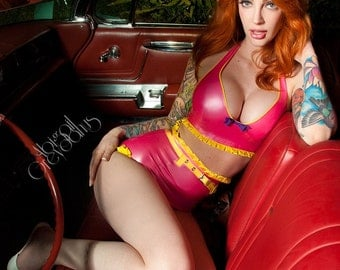 Dolores Ruffle Trim Latex Bikini