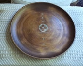 Louis Vuitton Hand Painted Brown and Gold Tray Large Round Home Decor Tray