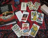 Vintage Tarot Classic  Deck with Vintage Tarot Classic Hardcover Book, Boho Style Reading Cloth & Hand-Poured Frankincense Candle