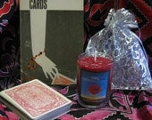 Cartomancy Set: 1964 The Key to Fortune Telling By Cards by P.R.S. Foli, Older Hoyle Playing Cards, Reading Cloth & Psychic Rose Candle
