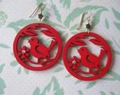 Pretty Red Bird Earrings