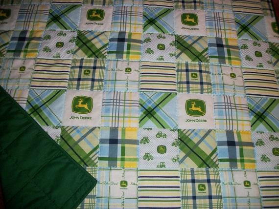 John Deere Green/Blue/Yellow Boy's Homemade  Baby  Children's  Quilt   Size 36 x 40