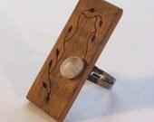 Handmade wood ring - Koa Wood and moon stone