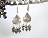 Silver Hammered Earrings, Teardrop Crystal Earrings, Sterling Silver Earrings