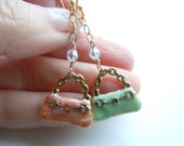 Enamel Purse Earrings, Designer Purse,  Pink and Mint Green Enamel,Vermeil, JUST REDUCED