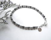 Silver Beaded Anklet, Peace Ankle Bracelet, Pearl Ankle Bracelet, Gift for Grad