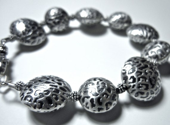 Chunky Silver Bracelet, Sterling Silver, Leopard-Stamped Silver Beads