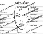 Instant download -PDF Cosmetic Face and  Makeup Chart