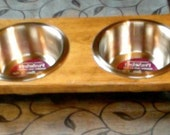 Small Dog Bowl Holder with Bowls
