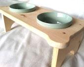 Medium Dog Bowl Holder with Bowls, unfinished wood