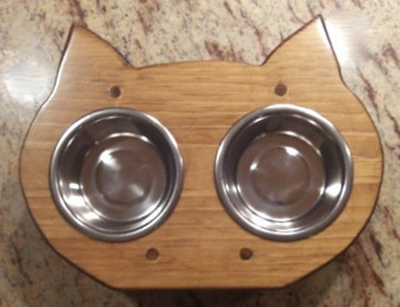 Cat Bowl Holder with Bowls