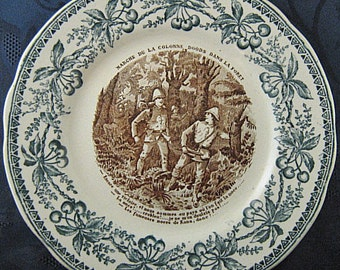 Antique French Faience Transferware Plate - Hautin & Boulenger Choisy-le-Roi France 1890s - Green Border w/ Cherries