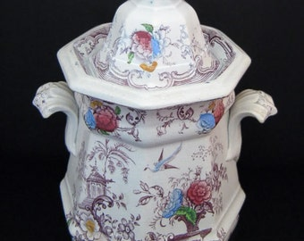 Antique Staffordshire Purple Transferware Large Gothic Sugar Bowl - Edward Challinor FLORILLA (1842-67)