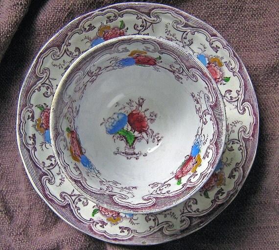 Antique Staffordshire Ironstone Handleless Tea Cup and Saucer Edward Challinor FLORILLA Pattern (1842-67) Polychrome Purple Transferware