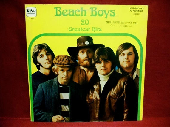 The Beach Boys 20 Greatest Hits 1960s Vintage Vinyl Record