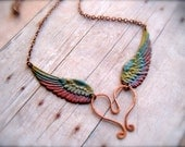 Angel Small Colored Rainbow Wing Forged Copper Heart Pendant Necklace