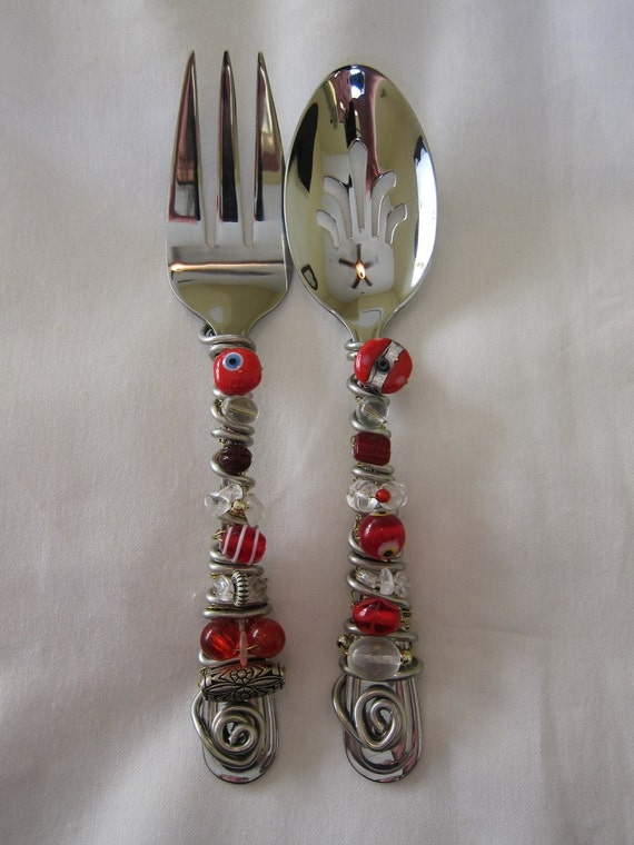 Red and Crystal Beaded Serving Utensils
