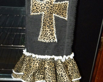 Leopard Dish Towel with double ruffle