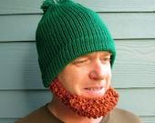 IRISH Beard Beanie Hat - St Patrick's - READY to SHIP- Green Hat Red Beard