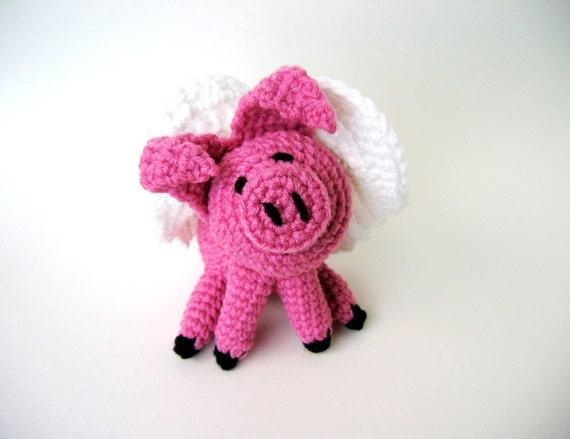 Flying Angel Pig Amigurumi Crochet Pattern : Crochet Pattern toy Flying Pig Amigurumi PDF Tutorial p133