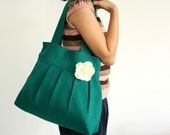 Reserved for kellysontab - 10% Coupon Code HOLIDAY -  Hemp Tote Bag Pleated Purse Green (Teal) - Flower Pin