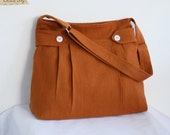 SALE - Messenger bag in Burnt Orange Hemp and Cotton / With Fabric Defect