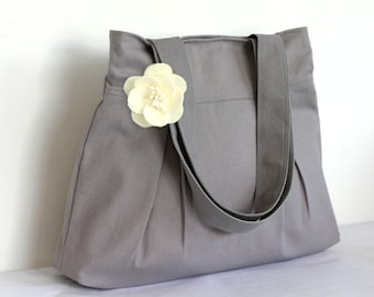 Christmas 10% Coupon Code HOLIDAY - Canvas Tote Bag Bridesmaid Gift - Pleated Grey - Free Flower Pin
