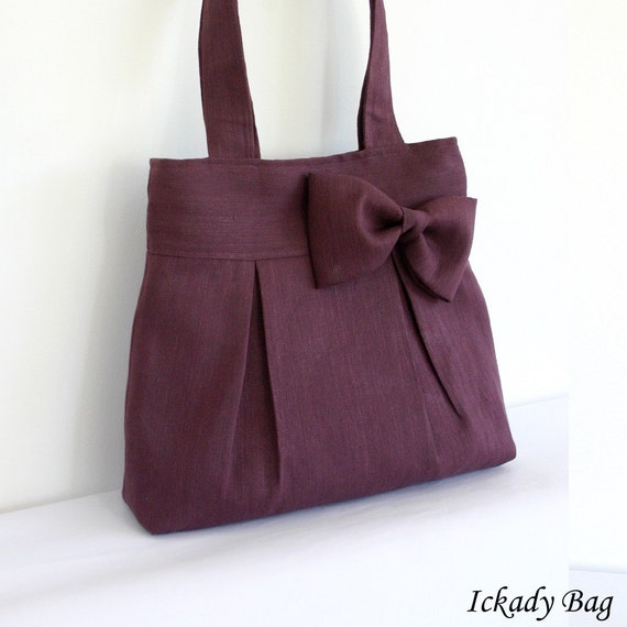 Last One - Deep Purple / Plum Pleated Hemp / Cotton Tote Bag with Big Bow - Ready to Ship