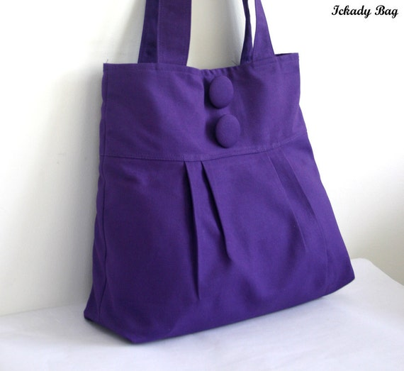 Purple Canvas Tote Bag with Big Buttons - Can be made in Yellow Grey Red Black Green and more