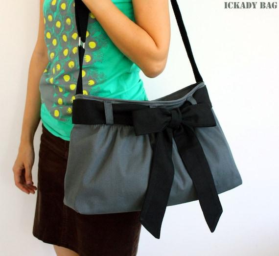 SALE - Small Gray Messenger Bag / Canvas Tote / Travel / Shoulder Bag / Day bag with Black Bow Sash