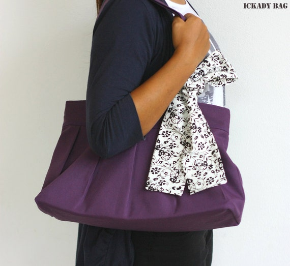 Buy 2 Get 10% off - Last One - SALE Purple Purse - Canvas Tote Bag with Flower Print Ribbon - Zippered Purse - Limited Edition