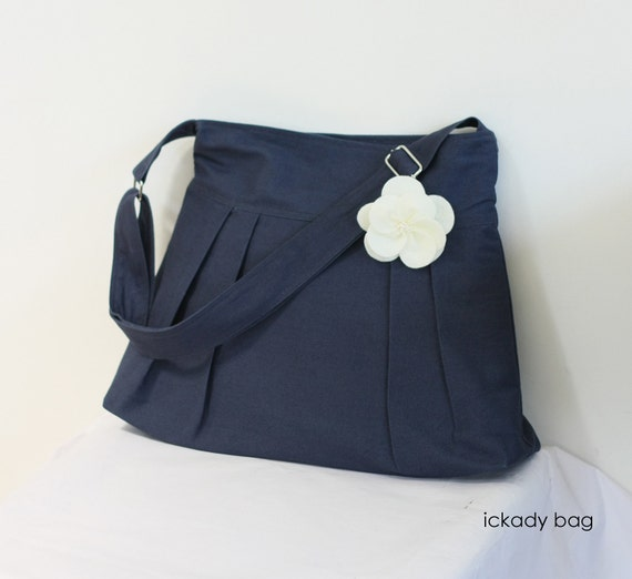 SALE - Navy Blue Cotton Canvas Messenger Bag / Pleated Tote / Travel Purse / Bridesmaid gift with Flower / Christmas