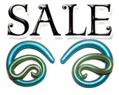 0G  SALE  Iridescent Blue and Green Swirl Earrings