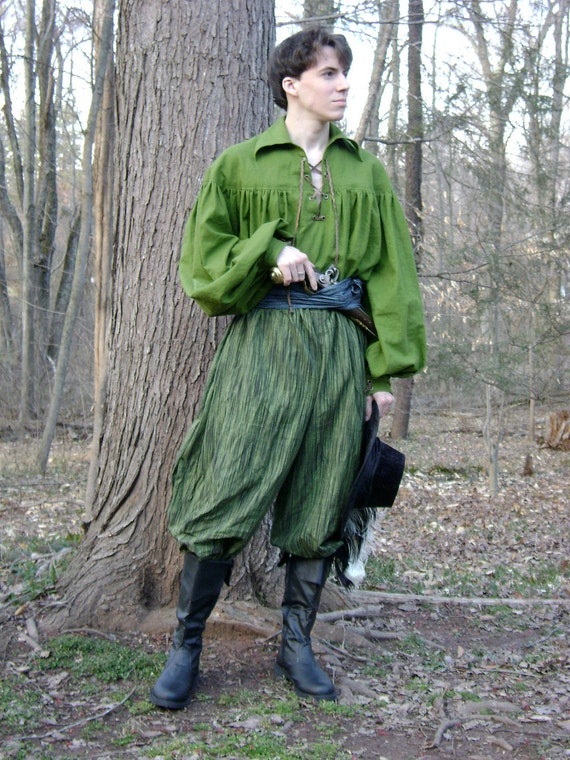 Men's Pirate, Merchant, Minstrel, Costume, Renaissance, All Natural Fiber Pants, Green and Black