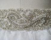 Bridal beaded woven crystal wedding sash/belt with rhinestone applique. CLASSIC BRAID