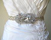 Bridal wedding beaded crystal sash/belt with exquisite swarovski crystal jewel.  HAUTE ELEGANCE.