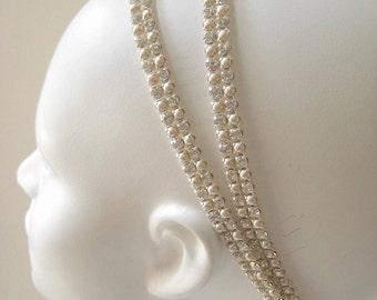Bridal beaded Czechoslovakia crystal/ivory pearl headband. Rhinestone wedding headpiece.  CREAM & SPARKLE