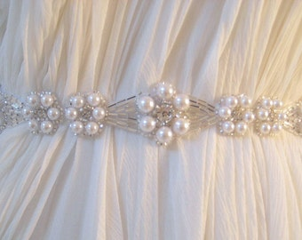 Bridal Czechoslovakia pearl, crystal sash. Beaded flower Wedding belt.  PEARLESCENT